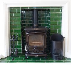 green tiled wood burning fireplace Living Room Green, Living Room Decor, Living Spaces, Dining Room, Wood Burner Fireplace, Fireplace Tiles, Log Burner Living Room, D House, Fireplace Surrounds