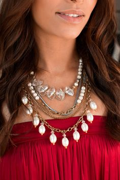 Repin if you LOVE these #pearls on a red dress! #Silpada #WomensFashion