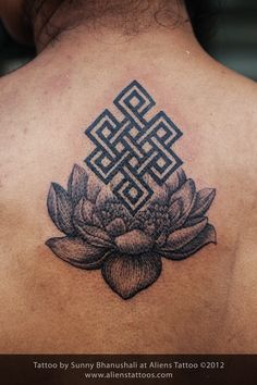 buddhist knot on lotus tattoo inked by sunny at aliens tattoo mumbai client got this concept. Black Bedroom Furniture Sets. Home Design Ideas