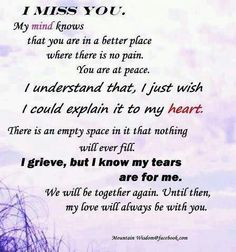 missing a lost loved one