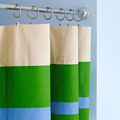 DIY Ideas | Create your own custom shower curtain by painting stripes onto drop cloth