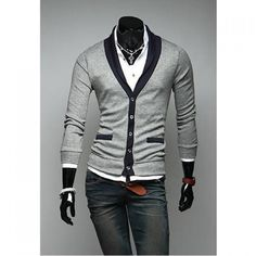 21.98$  Watch now - http://dicfo.justgood.pw/go.php?t=YL2742006 - Preppy Style Color Block V-Neck Long Sleeves Cotton Blend Cardigan For Men