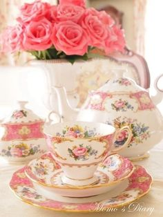 My tea set Vintage Dishes, Vintage China, Vintage Teacups, Tea Sets Vintage, Deco Rose, Party Set, China Tea Cups, Teapots And Cups, My Cup Of Tea