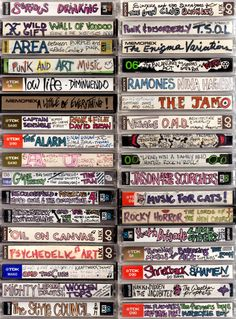 I adore these images of cassette tape spines lovingly labeled and decorated from the caveman days. I don't miss cassette tapes at all, but the bespoke folk art aspect of these is kind of funky fresh, you have to admit… Via Boing Boing Vaporwave, Digital Foto, Digital Wave, Oldschool, Lost Art, Retro Aesthetic, Music Aesthetic, Art Music, Mixtape
