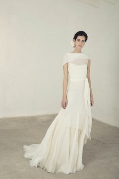 Wedding Dress Ideas, Designers & Inspiration : Mykonos from Cortana wedding dresses Bridal Collection – Off the shoulder dress ties across the back at the waist and flows into a full skir… Bridal Dresses, Wedding Gowns, Wedding Venues, Wedding Reception, Dress Alterations, Virtual Fashion, Tie Dress, Bridal Collection, Dress Collection