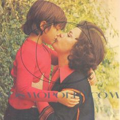 Jenny Karezi with her son Constantinos Kazakos in the garden of their home (1975)