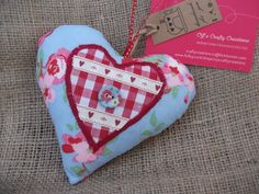 Blue Floral Fabric Hanging Heart with red gingham trim £3.99