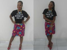 Look Saia estampada com Tshirt Romwe