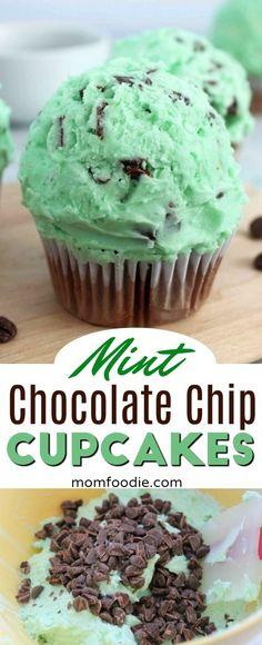 Mint Chocolate Chip Cupcakes #stpatricksday #cupcakes #mint #greenfood #chocolate Homemade Cupcake Recipes, Dessert Recipes, Dessert Ideas, Snack Recipes, Mint Chocolate Cupcakes, Best Chocolate Desserts, Mint Chocolate Chips, Sweet Recipes, Easy Recipes