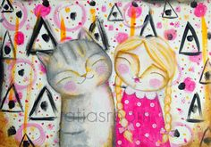 Atia's Room: de una página de Art Journal a un lámina cargadita de amor #artjournal #atiasroom #catpainting #cute