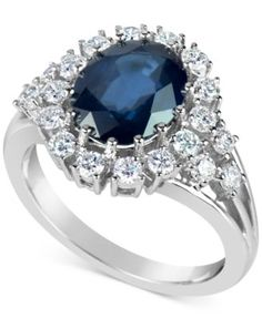 Sapphire (3 ct. t.w.) and Diamond (3/4 ct. t.w.) Ring in 14k White Gold | macys.com