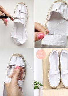 DIY Summer shoes - chaussures d'été Follow my tutorial to create your own pimped summer shoes! Its super easy! ---- Suivez mon tutoriel pour réaliser des chaussures d'été super simples à réaliser! A vos espadrilles! Tout mes DIY sur www.idoitmyself.be