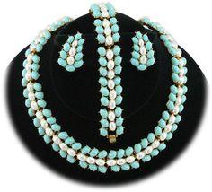 Trifari faux turquoise & pearl parure $199 http://www.vintagecostumejewelryaddiction.com/vcja3092.html