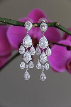 Sparkle cz earrings dangly earrings chandelier cubic by terihuang