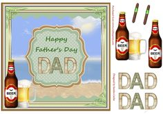 A great 'Father's Day' Decoupage Topper.  Sheet includes:  Main Topper approx: 8x8ins  Decoupage Elements  'DAD' Decoupage Elements  2 x 'cigar' embellishments if you wish to add them to your card front.  There are also 2 matching inserts - cup780545_719 & cup780542_719 which can be purchased separately.  I have designed a collection of these 'Father's Day' Toppers with different backdrops which you can view by clicking on the thumbnail images below...