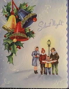 VINTAGE MID CENTURY 50s CAROLERS GLITTERED BELLS SILENT NIGHT CHRISTMAS CARD