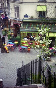 colorful restaurant patio, Montmartre, Paris