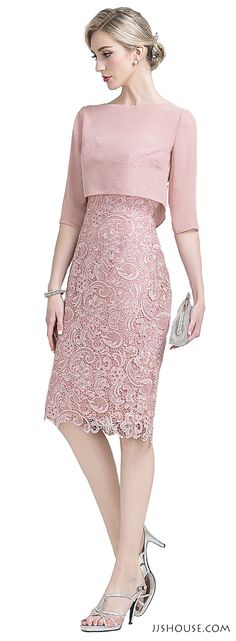 Sheath/Column Sweetheart Knee-Length Lace Mother of the Bride Dress - Wedding Gowns Platform Trendy Dresses, Elegant Dresses, Cute Dresses, Beautiful Dresses, Short Dresses, Fashion Dresses, Gorgeous Dress, Fashion Styles, Trendy Outfits