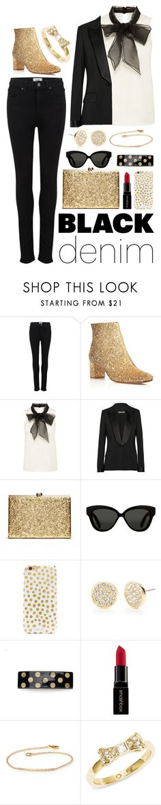 """Glitter and Gold Outfit"" by ohsosartorial ❤ liked on Polyvore featuring Paige Denim, Kate Spade, Tom Ford, Linda Farrow, BaubleBar, Chanel, Smashbox, ZoÃ« Chicco, women's clothing and women's fashion"