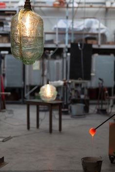 under construction Metal Workshop, Mason Jar Lamp, Light Fixtures, Table Lamp, Construction, Ceiling Lights, Studio, Glass, Design