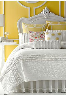 Dena™ Home bedding available at Belk.  This quilt has a jersey ruffle applique in a striped grid design. The solid color coordinates with any Dena™ Home Accessory.