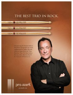 Pro-Mark Ad for Neil Peart Time Machine Great Bands, Cool Bands, Rush Albums, Rush Music, Rush Concert, A Farewell To Kings, Rush Band, Rock And Roll History, Rock And Roll Fantasy