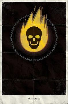 Ghost Rider - Marvel Minimalist Posters by Marko Manev, via Behance Horror Comics, Marvel Dc Comics, Marvel Heroes, Comic Book Characters, Marvel Characters, Comic Character, Marvel Universe, Poster Minimalista, Spiderman