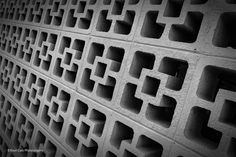 https://flic.kr/p/wfe4uV | Repeating Pattern_BW | intersting look of cement blocks made into a wall in Automobile Alley of Oklahoma City.