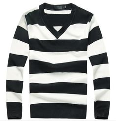 Men's Striped V Neck Sweater - TrendSettingFashions Skinny Chinos, Slim Chinos, Long Sleeve Shirt Dress, Long Sleeve Tops, Dress Shirts, Sweater Coats, Men Sweater, Balloon Pants, Fleece Shorts