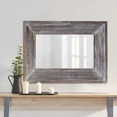 Best farmhouse wall decorations and rustic wall decor you will love. We absolutely love country themed wall decorations including farmhouse wall art, canvas art, mirrors, and more. Farmhouse Mirrors, Rustic Mirrors, Farmhouse Wall Art, Farmhouse Decor, Large Rustic Wall Decor, Reclaimed Wood Mirror, Salvaged Wood, Plumbing Pipe Furniture, Wood Furniture