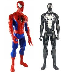 Superhero Spider-man 2 styles Black and Red Suit Spider-man PVC Action Figure Collectible Model Toy 30cm #Spider-man