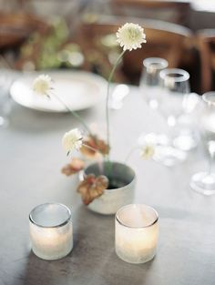 Neutral Palette For A November Wedding ~ Love this centerpiece, simplicity is perfection by Studio Mondine; capture by Taralynn Lawton