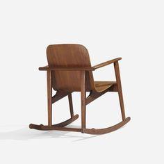 Børge Mogensen; Teak and Teak Plywood Rocking Chair for Erhard Rasmussen and K. Hempel Rasmussen, 1953.