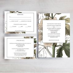 Wedding Invitation Template, Floral Wedding Invitation Bundle, Wedding Printable, Wedding Communication Template Set, PDF Instant Download