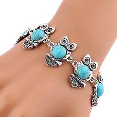 Bohemian Owl Turquoise Bangle Bracelet