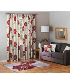 Jessica Pencil Pleat Curtains 117x137cm - Cream and Red.