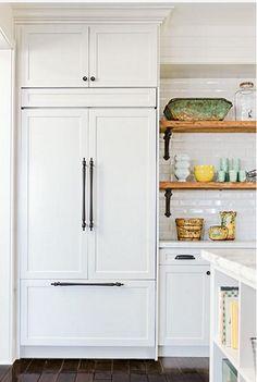 Restaurant Kitchen Refrigerator painted :: built in refrigerator panels #kitchen #cabinets #fridge