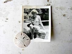Marilyn Monroe Lookalike Vintage Busty Blonde Beauty Pin Up Girl Photo Polka Dot Bikini Bra Summerti