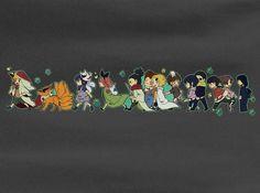 Red tail fox Naruto Haruno Sakura, Tenten, Hyuuga Hinata, Yamanaka Ino Chibi T-Shirt Tee