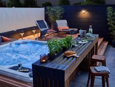 Small patio with hot tub landscaping ideas ideas You are in the right place about patio binnentuin Here we offer you the most beautiful pictures about the boho patio you are lo Hot Tub Garden, Hot Tub Backyard, Small Backyard Pools, Backyard Patio Designs, Pergola Patio, Pergola Kits, Small Pools, Pool Decks, Pergola Ideas