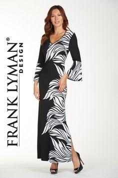 Frank Lyman - 176154 - Maxi Dress - New Black And White Long Dresses, White Maxi Dresses, Maxi Dress With Sleeves, Black White, Fashion Forward, Bell Sleeves, Elegant, Stylish