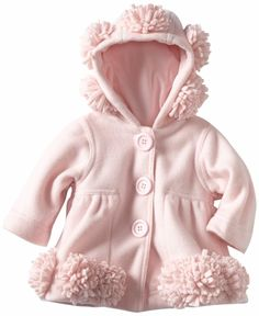 Kate Mack *Left Bank* Beautifuul Pink Hooded Polar Fleece Coat - Sizes 6m to 4t