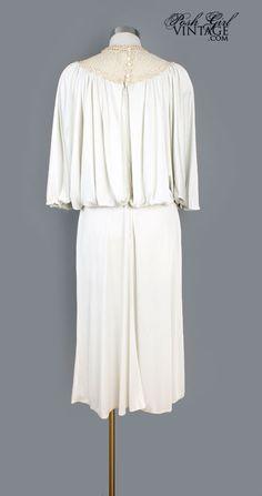 1970's Ivory Crochet Grecian Bohemian Dress - M VINTAGE CLOTHING & DRESSES 1970'S 1960'S BOHEMIAN STYLE :