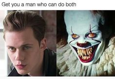 Bill Skarsgård as Pennywise. What a fuxking contrast tho!!! .