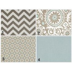 Spa blue, grey and tan fabric for crib bedding?