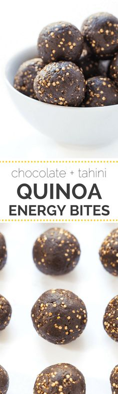 Dark Chocolate + Tahini Quinoa Energy Bites -- healthy, easy and perfect for on-the-go | recipe on simplyquinoa.com