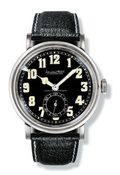 "IWC Special Watch for Pilots (1936) - IWC's first ""special watch for pilots"" manufactured in 1936, this watch, containing Caliber 83, had a shatterproof crystal, high-contrast hands and numerals, a rotating bezel with an index for recording short periods of time, and an antimagnetic escapement. More @ http://www.watchtime.com/featured/time-flies-9-historic-iwc-pilots-watches/ #iwcwatches #watchtime #pilotswatch"