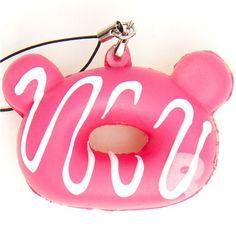 pink Rilakkuma donut squishy cellphone charm sauce