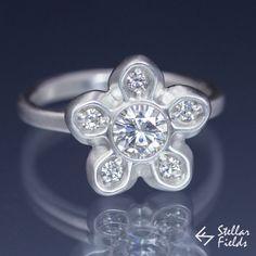 Sakura Flower Moissanite Engagement Ring Multi stone diamond alternative star