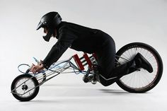 Using modified bicycle parts for drive components and two 18-volt-screwdrivers as engines, the EX, designed by Nils Ferber, accelerates its driver up to 30 km/h.